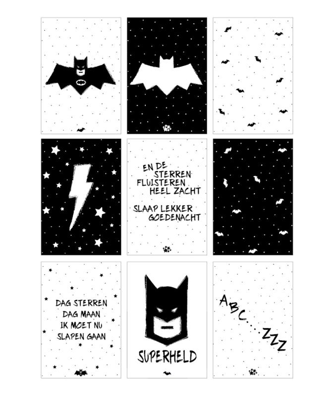 Kaartenslinger Superheld (set van 9 kaarten)