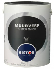 Histor Perfect Finish Muurverf Mat - Zwart 6372 - 2,5 Liter