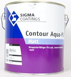 SIgma Contour  Aqua PU-Matt - WIT - 1 liter - Vergelijkbaar Sigma S2U Nova Matt