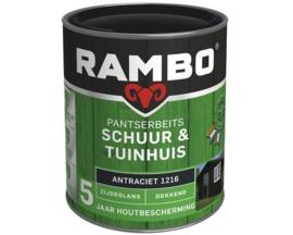 Rambo Pantserbeits Schuur en Tuinhuis Dekkend Zijdeglans - Ral 9001 - 750 ml