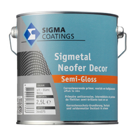 Sigmetal Neofer Decor Semi Gloss - Wit - 1 liter - Corrosiewerende primer en aflak