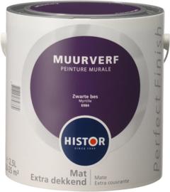 Histor Perfect Finish Muurverf Mat - Zwarte bes 6984 - 2,5 Liter