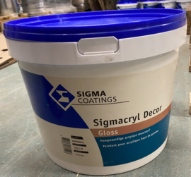 SIGMACRYL Decor GLOSS - SIGMA muurverf WIT - 10 liter - SCHROBVAST