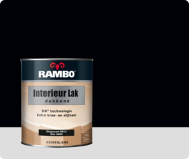 RAMBO INTERIEUR - VLOER LAK DEKKEND ZIJDEGLANS - Diepzwart RAL 9005 - 0,75 liter