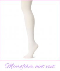 Footed Microfiber Ultra Strong & Soft White Ballet Tights