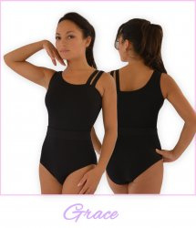 Silhouette Asymmetrical Leotard Cotton Spandex