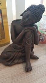 Budha beeldje hoofd op knie 14cm