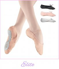 Elite Ballet Shoes Leather full sole with pre-attached elite-black-pink Elastics
