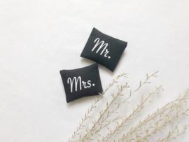 Slaapkamer | Textiel | setje .v. 2  | 4 x 5 cm | Mr & Mrs | zwart