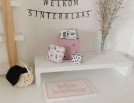 Feestdagen | Sinterklaas | deurmat | wit + roze | welkom sinterklaas