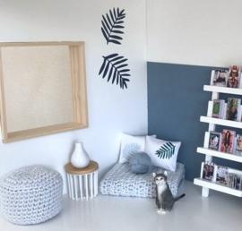 Woonkamer | Textiel | Kussentje | 4 x 5 cm | Leaf | Wit + baby blauw