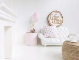 Textiel | slaapkamer | Kussentje  | 4 x 5 cm |  wit + fuchsia Dots