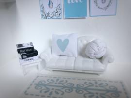 Textiel | slaapkamer | Kussentje  | 4 x 5 cm | wit + Baby Blauw hart