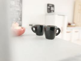 Keuken | keramiek kopjes | zwart | 2 stuks.