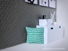 Woonkamer | Textiel | Kussentje | 4 x 5 cm | streepjes | fris groen