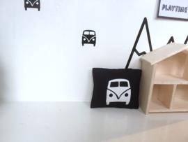Textiel | slaapkamer | Kussentje  | 4 x 5 cm | zwart + witte VW