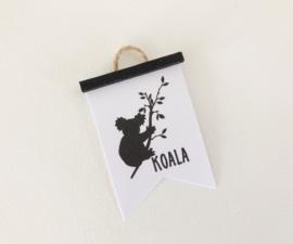 Wanddecoratie | Poster Flag  | zwart | Koala