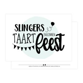 Slingers, ballonnen, taart, feest