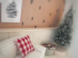 Feestdagen | Kerst | Kussen  4 x 4 cm | Geruit