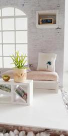 Woonkamer | Textiel | Kussentje | 4 x 5 cm | klein palmboompje | Petrol