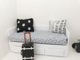 Textiel | Kussentje  | 4 x 5 cm | zwart + sterren