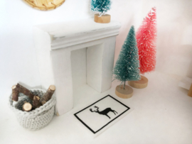 Feestdagen | Kerst | deurmat | wit | Rendier