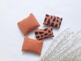 Textiel | setje .v. 4 | roestbruin
