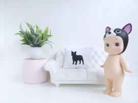 Textiel | slaapkamer | Kussentje  | 4 x 5 cm | Wit + zwarte bulldog
