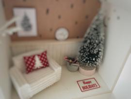 Feestdagen | Kerst | deurmat | wit + rood | Happy Holidays