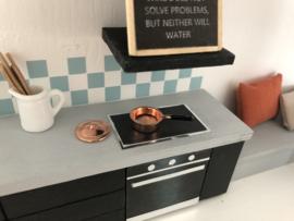 Keuken | Steelpan met deksel | laag | koper | 1,5 cm