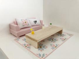 Set   woonkamer   roze + blauw