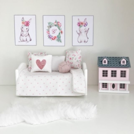 Wanddecoratie | Posters | Darling Prints | Floral bunny set | 3 prints