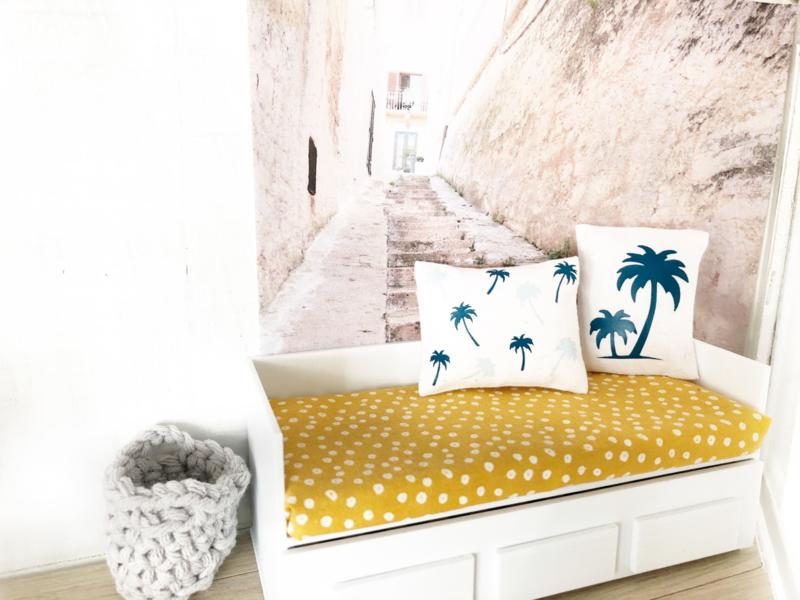 Woonkamer | Textiel | Kussentje | 4 x 5 cm | palmboom eiland | Petrol