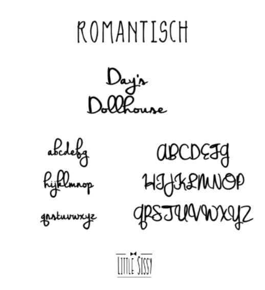 Dollhouse Naamsticker   groot   Romantisch