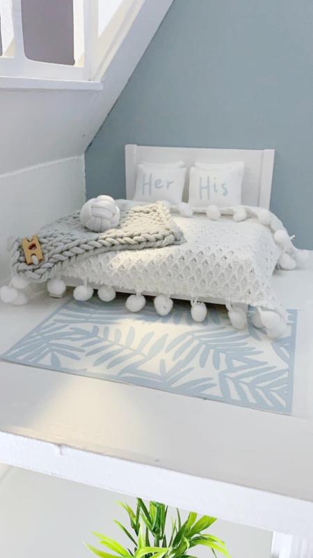 Slaapkamer | Textiel | setje .v. 2  | 4 x 5 cm | his & her | licht blauw