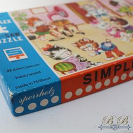 Simplex houten puzzel poezen