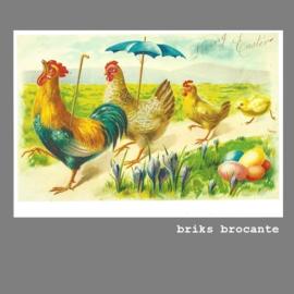 kaart pasen - haan & kippen