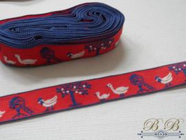 vintage band - rood met eendjes - 5 meter