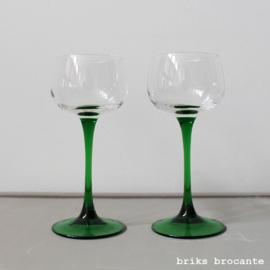 set wijnglazen - groene voet