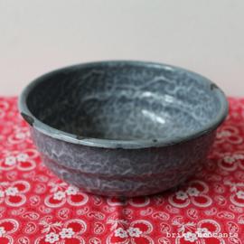 emaille schaal grijs gewolkt - 15 cm