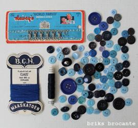 set vintage fournituren - blauw