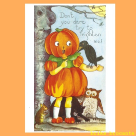 kaart Halloween - pompoenmeisje
