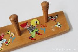 houten kinderkapstok kabouters