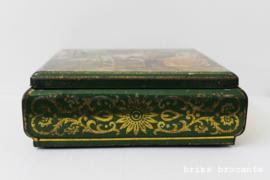 blik / koektrommel groen - barok