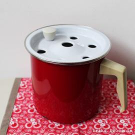 emaille melkkoker - rood