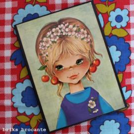 prentbriefkaart op hout - meisje