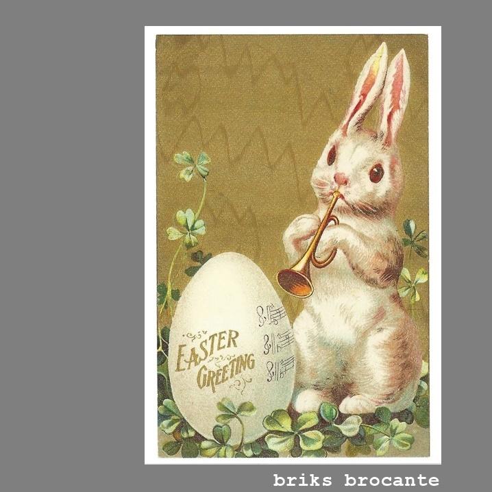 kaart pasen - konijn met trompet