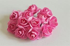 Paper Rose 1,5 cm - Roze (set 12 stuks)