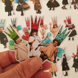 Kinderen met kroontjes & vleugels (set  27 stuks)