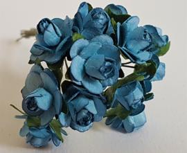 Paper Rose 2 cm - Blauw (set 12 stuks)